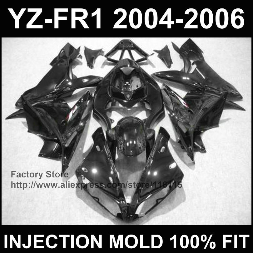 New! Injection mold body repair parts for YAMAHA YZF R1 fairings YZF1000 1 2004 2005 2006 YZFR 04 05 06 all black custom fairing