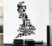 Free Shipping Wall Sticker Vinyl Decal Wall Decal England London Big Ben Rain United Kingdom Bus Vinyl Stickers Decoration