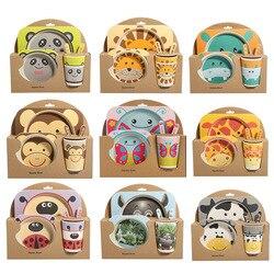 5 pz/set Piatto Del Bambino Set Da Tavola Del Fumetto Forchetta Alimentazione Piatti per I Bambini Utensili In Fibra di Bambù Naturale Ciotola Con Cucchiaio Tazza piastra