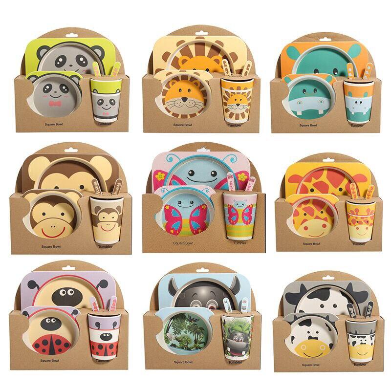 5 unids/set juego de vajilla de bebé Tenedor de dibujos animados platos de alimentación para niños utensilios tazón de fibra de bambú Natural con taza cuchara plato