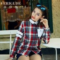 Veri Gude Women S Blouse Cotton Plaid Shirts Long Sleeve British Style Fashion Tops