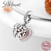 Moda Prata Esterlina 925 Coração forma Esmalte Rosa da Árvore da vida Charme Pendant fit Encantos Pandora Original Pulseira de Prata 925