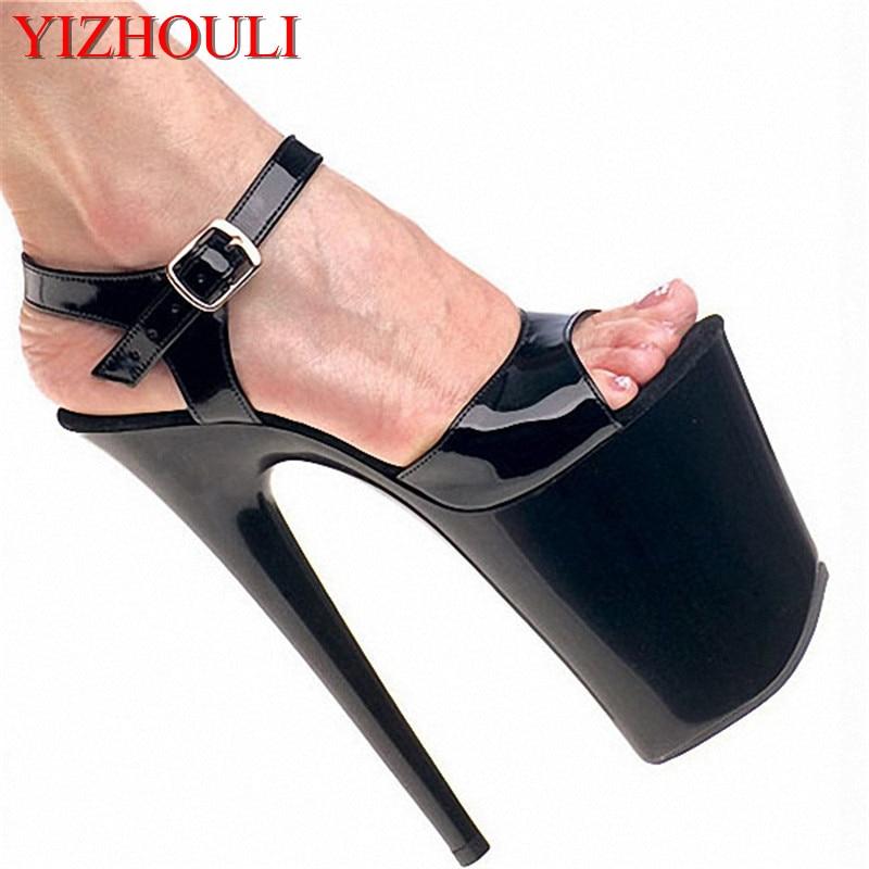 8 بوصة. خنجر الصنادل ، المفتوح الأصابع المرأة 20 سنتيمتر أحذية منصة ، نماذج مرحلة الصنادل-في كعب عالي من أحذية على  مجموعة 1