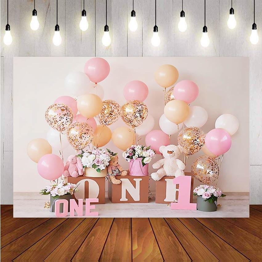 Фон для фотосъемки 1 день рождения День Рождения шар цветы белая игрушка фон с медведем Декор фотосессия фон для фотостудии|Фон| | - AliExpress