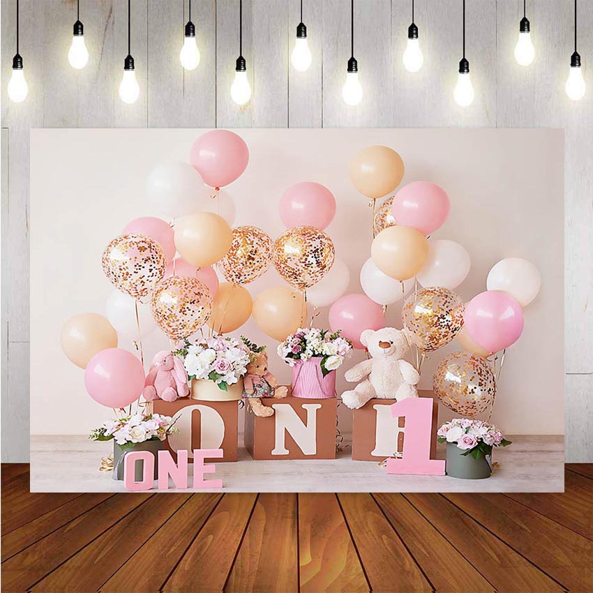 1st Birthday Photography Background Birthday Party Balloon Flowers White Toy Bear Backdrop Decor Photocall Backdrop Photo Studio