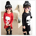 Roupas novas crianças de moda red & black skull head bebê meninas roupas de mangas compridas crianças baby dress meninas ocasional dos desenhos animados roupas