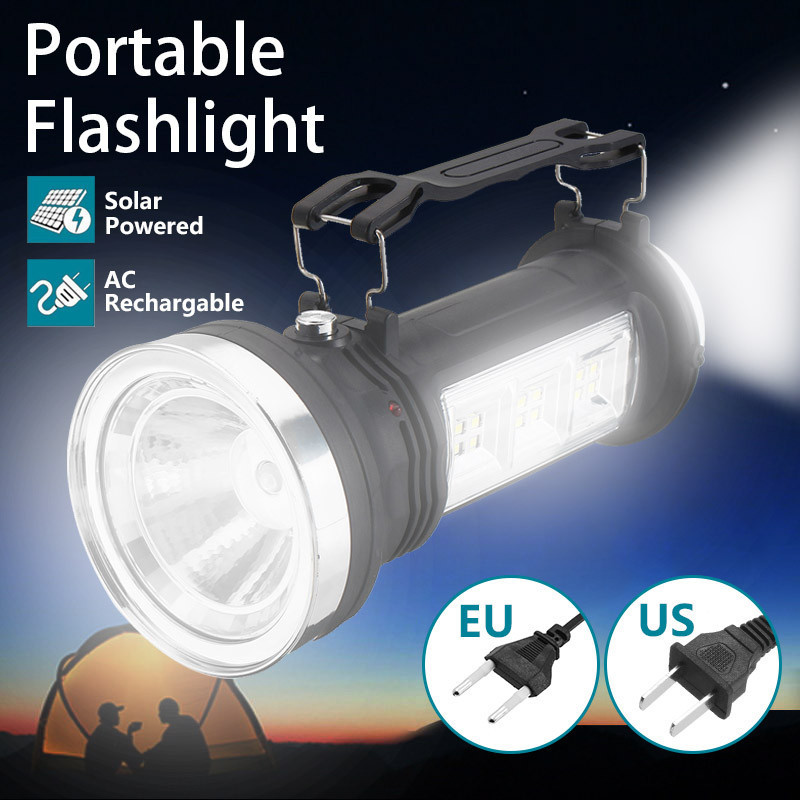 Portable LED Spotlights LED Solar Power Rechargeable Flashlight Light Searchlight Outdoor Camping Hanging Lantern Lamp solar rechargeable flashlight led hardlight searchlight outdoor lighting high power portable emergency power bank light