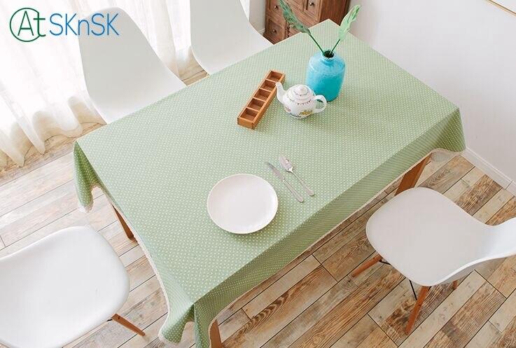 Новый дизайн зеленый розовый синий журнальный столик ткань в горошек печатных скатерть украшения дома кружевной Хлопковый Край постельное...