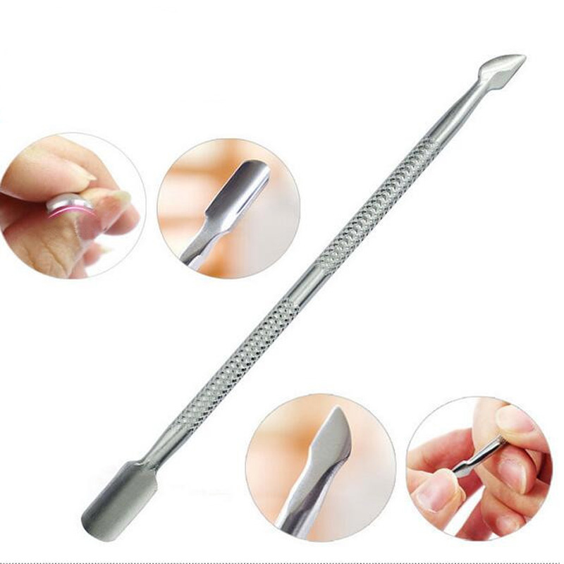 2 Way Pusher Nail Art Tools Stainless Steel Essential Cuticle Spoon Pusher Pedicure Manicure Care Cleaner Nail Cuticle Pusher