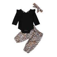 Conjunto de ropa para niñas pequeñas, mono liso de manga larga, pantalones de leopardo y Diadema, 3 uds., 2019