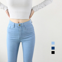 High Waist High Elastic Jeans Women Hot Sale American Apparel Skinny Pencil Denim Pants Fashion Pantalones