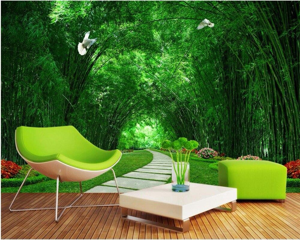 US $14 91 OFF 3d Ruang Wallpaper Kustom Foto Mural Bambu Taman Hijau Jalan Gambar Dekorasi Lukisan 3d Dinding Mural Wallpaper Untuk Dinding 3