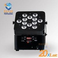 20X LOT Hot Sale Rasha Brightness 12pcs*18W 6in1 RGBAW+UV Battery Powerered Wireless LED Slim Par Can DMX LED PAR Projector