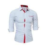 Dress Shirt Men Slim Fit Style Male For Boys Wave Point Polka Dot Casual Shirt Mens