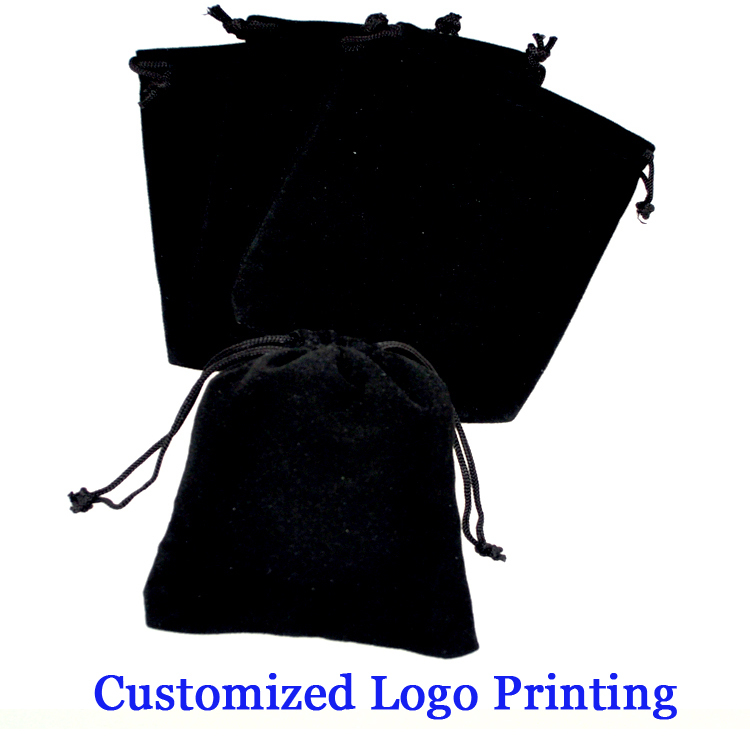 7*9cm Black Velvet Bags Drawable 50pcs Jewellry Gift Packaging Storage Pouches Custom Logo Printing