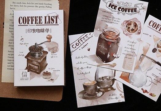 14.3cm*9.3cm Coffee List Paper Postcard(1pack=30pieces)