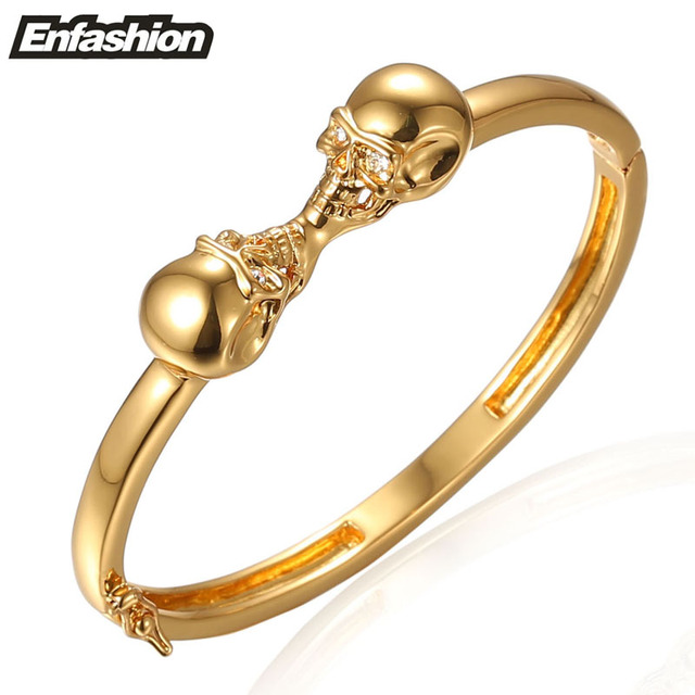 Enfashion Jewelry Double Skull Bracelet Noeud armband Gold Color