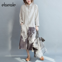 Vestido Cotton Linen Loose Vintage Dresses Printed Wash Painting Turn Down Collar Plus Size Fashion New