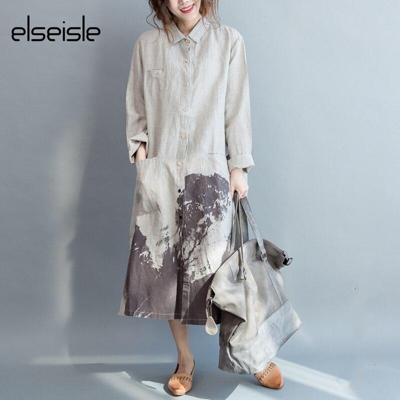 elseisle Women Dress Shirt dress Linen Cotton Vintage Linen Long Sleeve White gown patterns Casual Korean Fashion Loose dresses