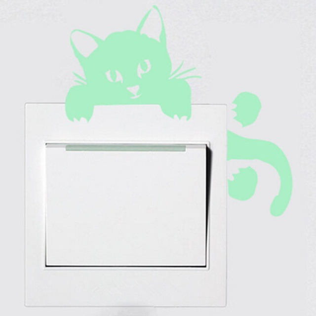 Luminous DIY Cute PVC home Cat Switch Wall Sticker Night light bedroom Fluorescent Sticker mural wall decals poster