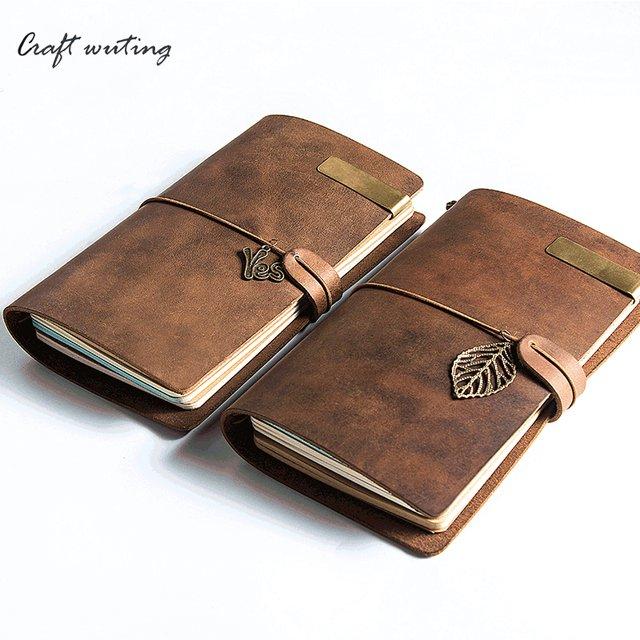 c12d44d24c36 Online Shop 100% Vintage Genuine Leather Notebook Diary Travel ...