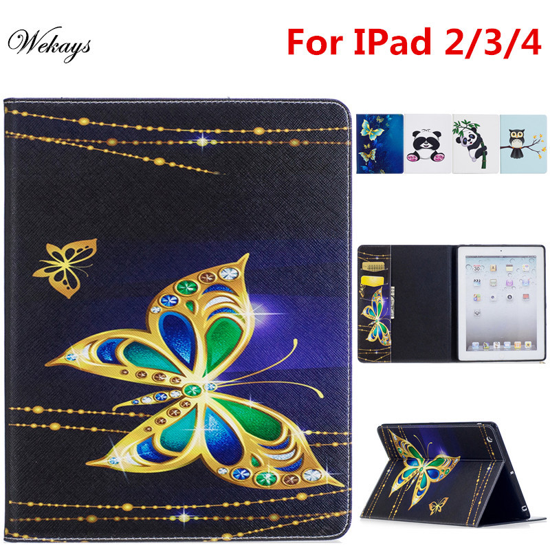 Wekays For Coque Apple IPad 4 3 2 Cute Cartoon Panda Owl Stand Leather Flip Fundas Case For IPad2 IPad3 IPad4 Tablet Cover Case cartoon painted flower owl for kindle paperwhite 1 2 3 case flip bracket stand pu cover for amazon kindle paperwhite 1 2 3 case