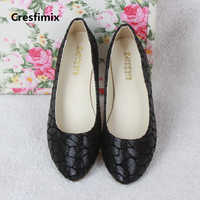 Cresfimix women fashion plus size spring & summer flat shoes lady casual black office shoes female comfortable shoes a2364