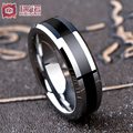 0.6cm Free Shipping Buy Cheap Price USA Hot Selling BLACK PIPE TUNGSTEN SHINY HIS OR HER MENS FOREVER LOVE WEDDING BAND RING