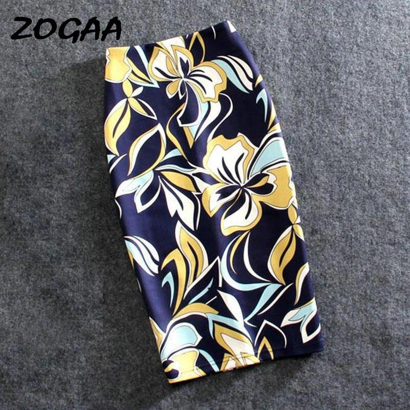 ZOGAA Floral Print Harajuku Elegant Pencil Skirt Women Bodycon High Waist Korean 2019 Summer Knee Length Office Skirts Lady Sexy