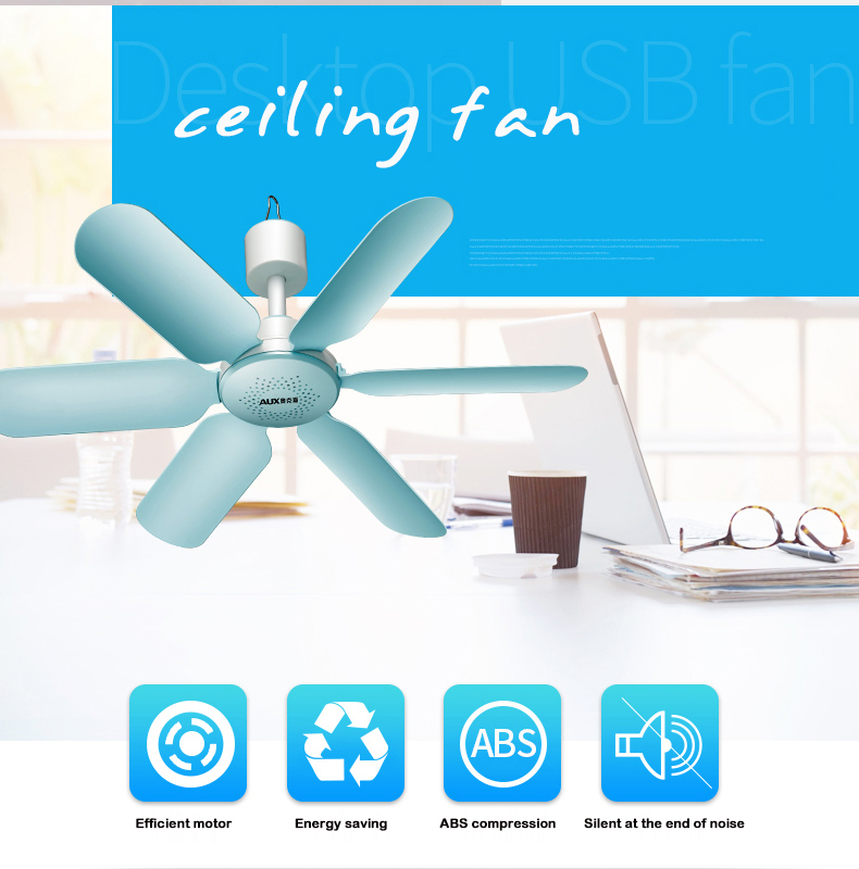 AUX 7W 6 Leaf Super Quiet Soft Wind Mini Household Mute Mini Fan ceiling fan Energy Saving Fan ABS Hanging Fan For Home Blue220V