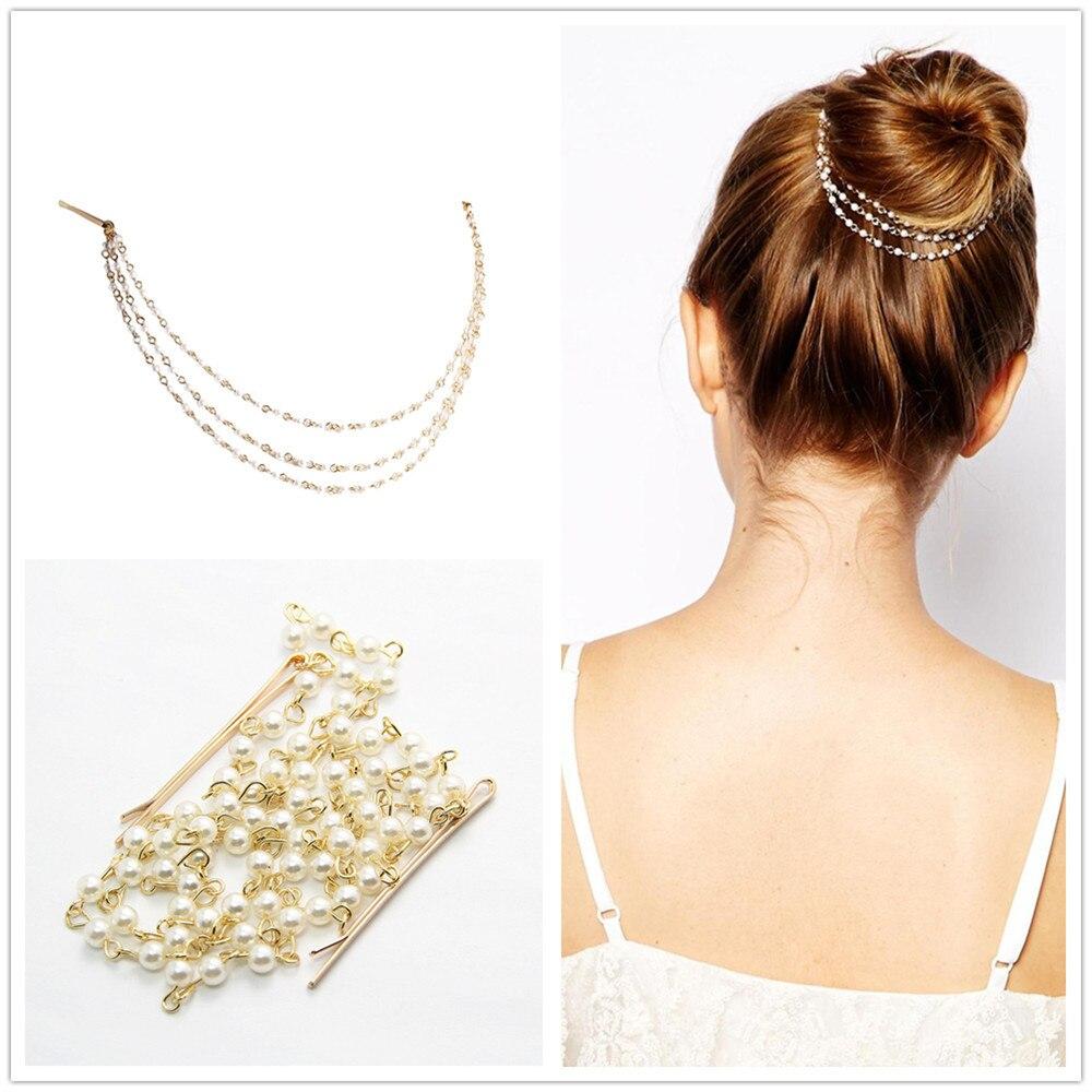 Elegant Indian Jewelry Multilayer Bridal Hair Accessories Pearls Tassel Tiaras horquillas de novia wedding decorations CF106