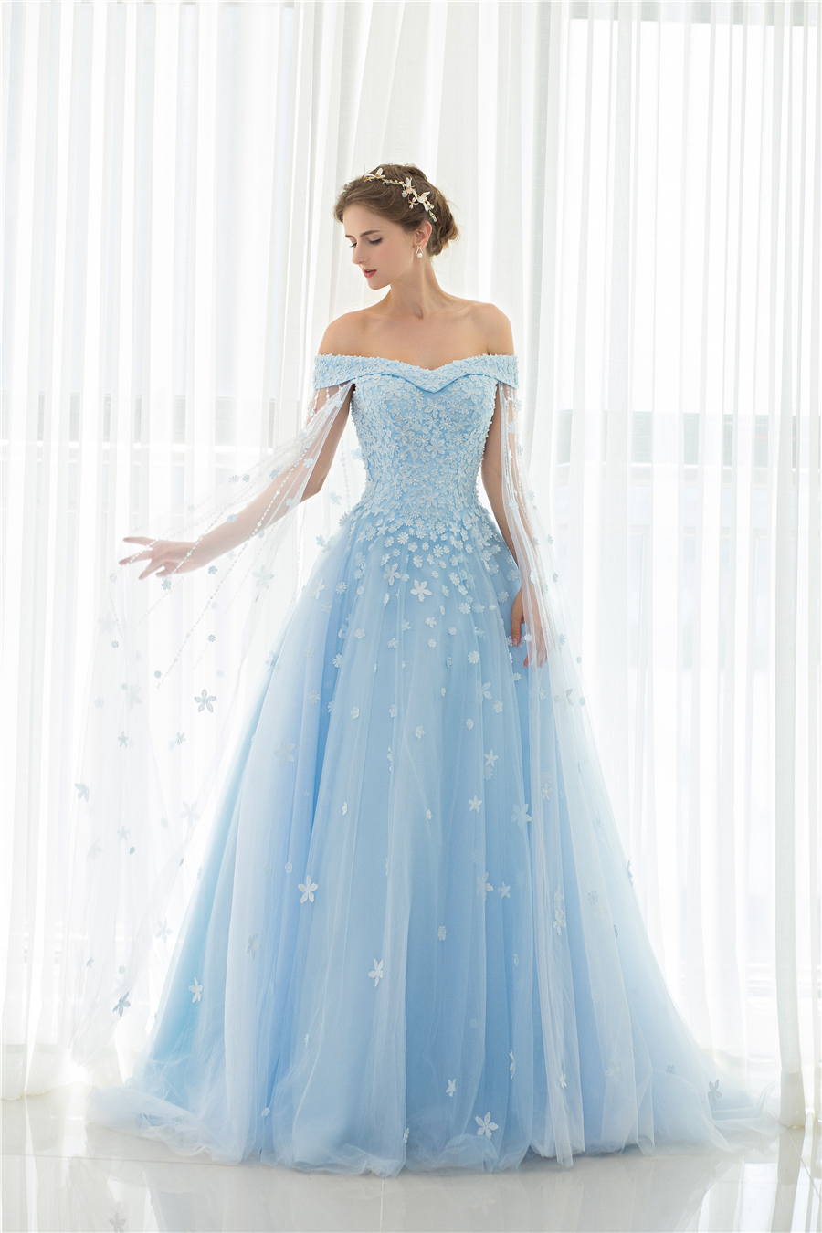 New Arrival Blue Off The Shoulder Hand Made Flowers Princess Wedding ...