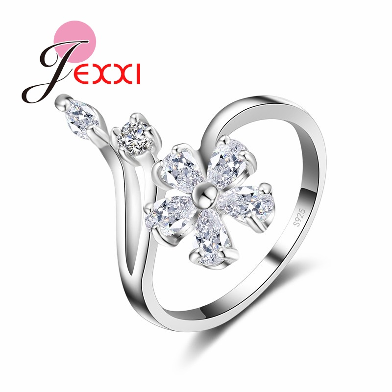 Original 925 Sterling Silver Jewelry for Women Wedding Bride Exquisite Flower Rings AAA+ Cubic Zirconia Female Bague