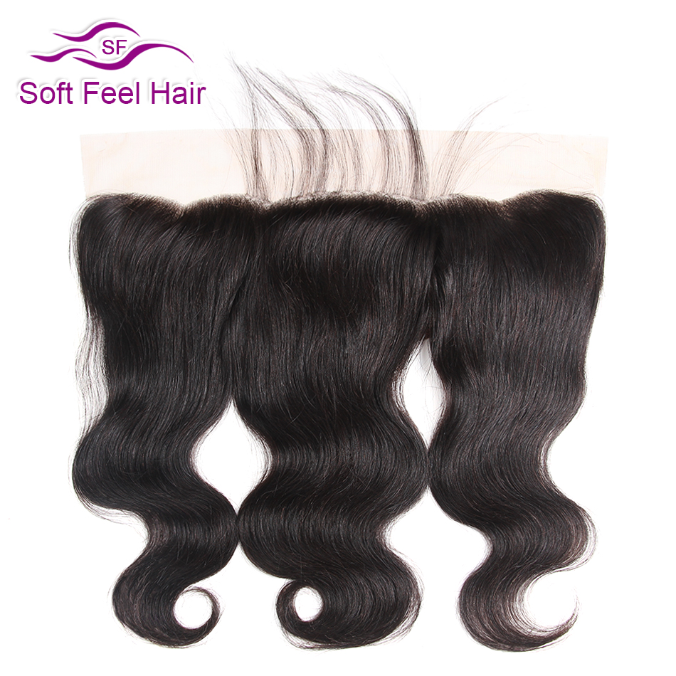 Mjukt Feel Hair Brasilian Body Wave Front Free Free Ear Ear To Ear Snörning Frontal Closure With Baby Hair Remy Människohår 8-20 tum