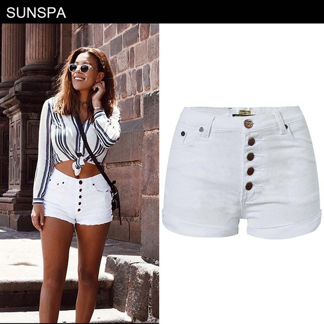 SUNSPA Plus Size White Pink Denim Shorts Women 2018 Summer Fashion Black  Ripped Jeans Shorts Hole Tassel Femme Shorts d1409241d