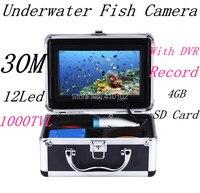 30 м кабель 1000tvl Профессиональный Подводный Рыбалка Камера комплект Рыболокаторы с DVR подводная видео Камера Рыбалка оборудования