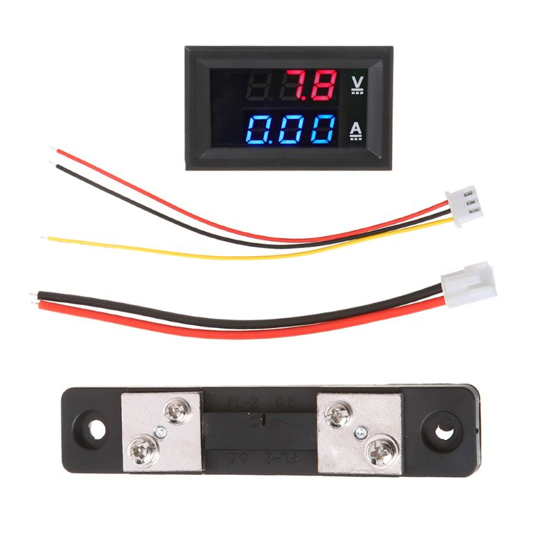 <font><b>DC</b></font> 0-<font><b>100V</b></font>/<font><b>50A</b></font> Red Blue Digital <font><b>Voltmeter</b></font> <font><b>Ammeter</b></font> LED Dual Display Voltage Current Indicator Monitor Detector image