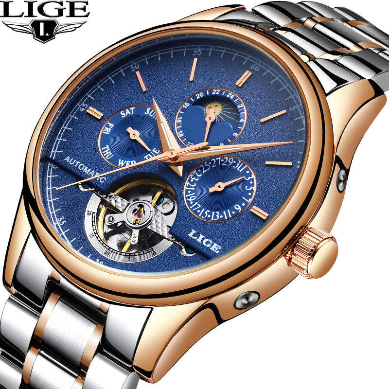 Relogio Masculino LIGE Watch Men Business Fashion Top Brand Luxury Automatic Mechanical Mens Watches Full Steel Waterproof Watch reloj hombre 2017 mens watches top brand luxury automatic mechanical watch waterproof business wrist watch men relogio masculino