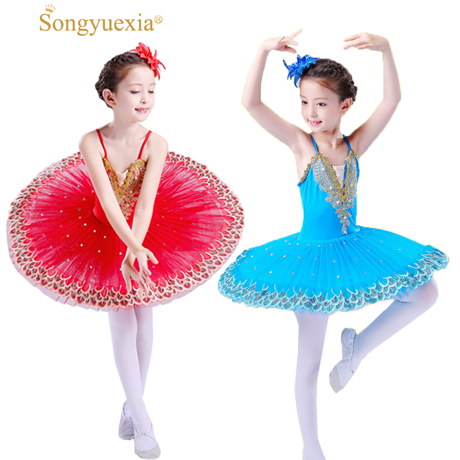 Professional Ballet Tutu Child Swan Lake Costume White Red Blue Ballet Dress for Children Pancake Tutu Girls Dancewear 3 colors