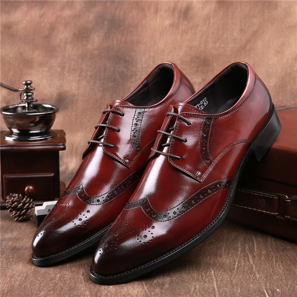 Fashion Brown tan / black pointed toe oxfords business shoes mens dress shoes genuine leather formal mens wedding shoes top quality crocodile grain black oxfords mens dress shoes genuine leather business shoes mens formal wedding shoes