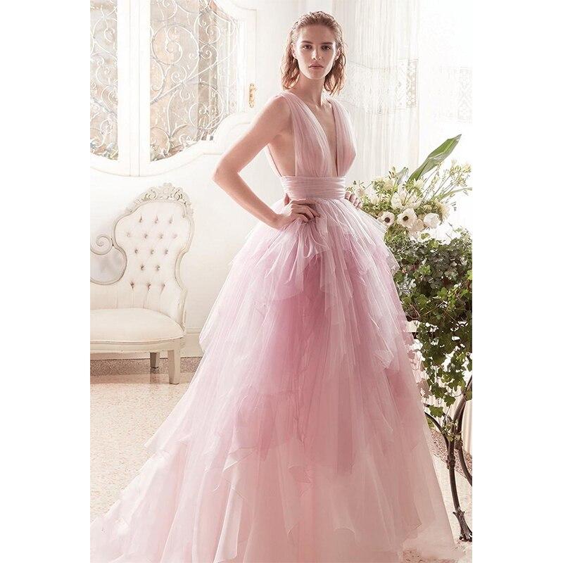 Verngo Pink Tulle Wedding Dress Sleeveless A Line Tiered Wedding Gowns New Design Bride Dress Custom Vestido De Festa Longo