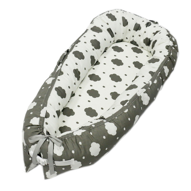 Pure Cotton Portable Baby Bed – Grey crowns