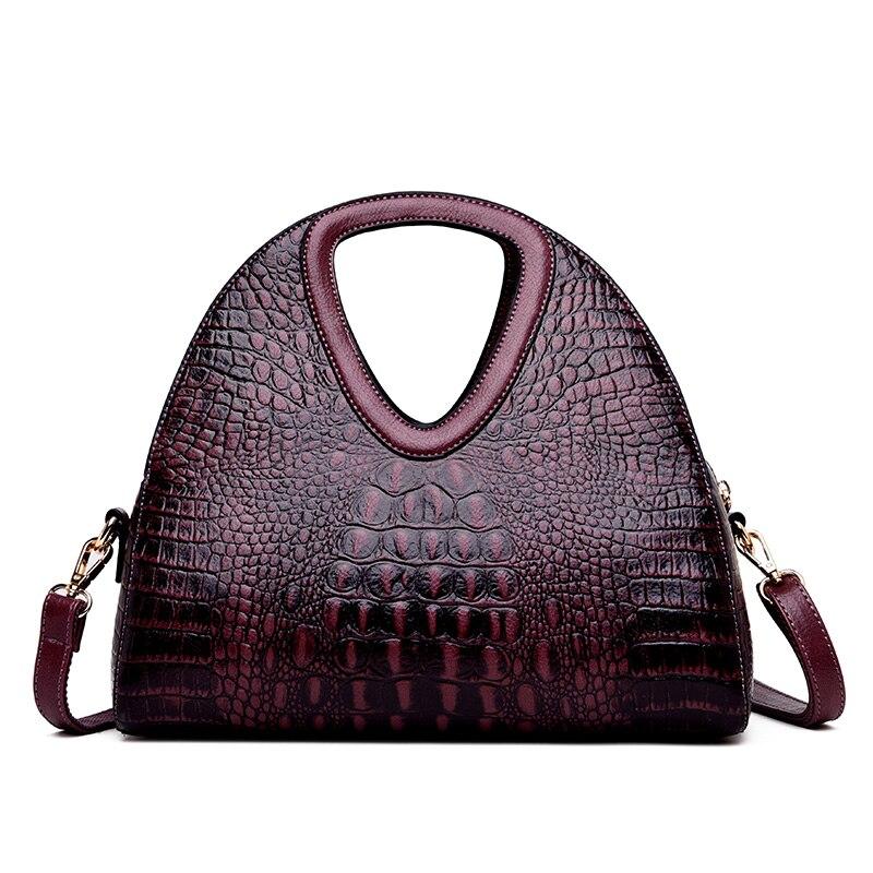 2019 New Crocodile Pattern Bags for Women Genuine Leather Handbags Luxury Brand Female Shoulder Bags Half Moon Crossbody Bags|Shoulder Bags| |  - title=