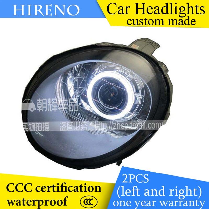 Hireno custom Modified Headlamp for Chevrolet Spark Headlight Assembly Car styling Angel Lens Beam HID Xenon 2 pcs