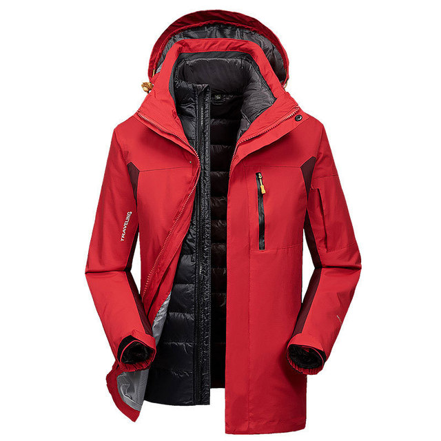 2018 Winter Mens Casual Jacket 90% White Duck Down Red Color Hooded 2pcs  Fleece Warm b125dfeb3e