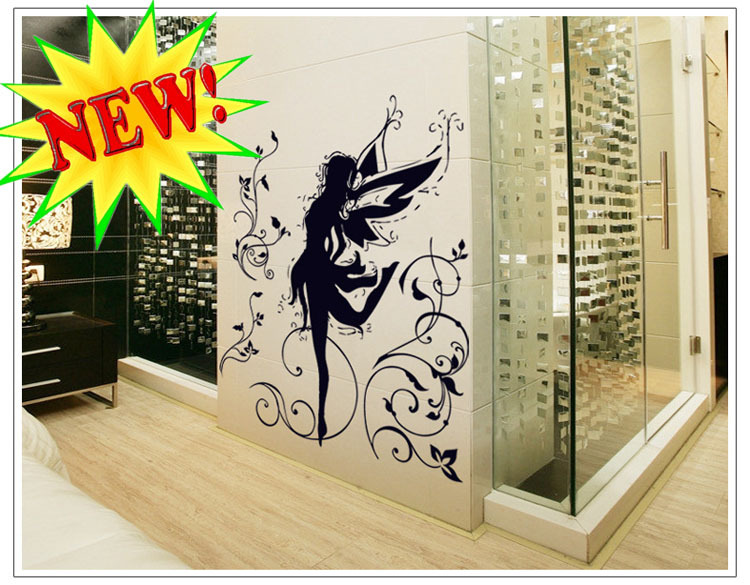 Simple and Stylish DIY home decoration elf ballerina removable sticker transparent PVC wall paper Large Size 60x90cm