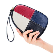 Day Clutches Evening Clutch Bags Women Wristlet  Cell Phone Pocket Genuine Leather Multi Color Fashion Patchwork Flap