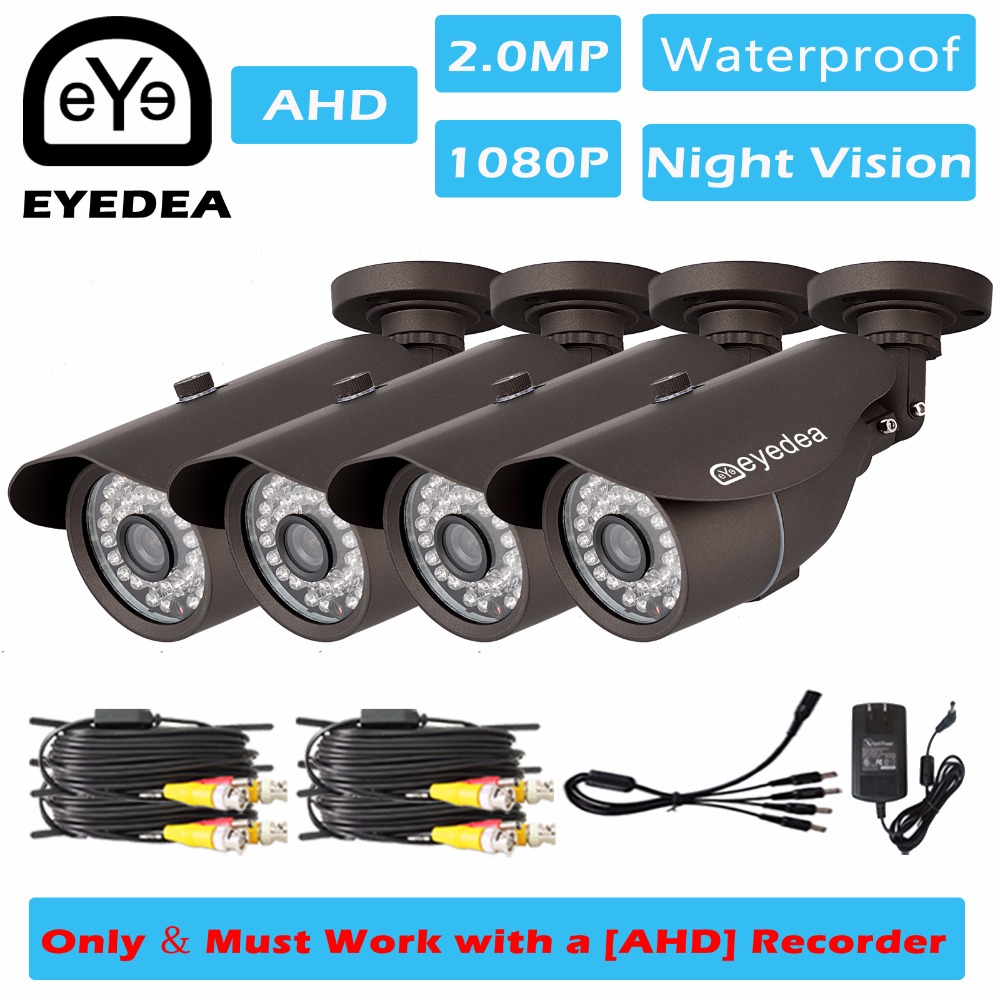 Eyedea 4x 1080P 2.0MP Bullet Black Night Vision Outdoor Waterproof Video Surveillance Home CCTV Security Camera for AHD Recorder