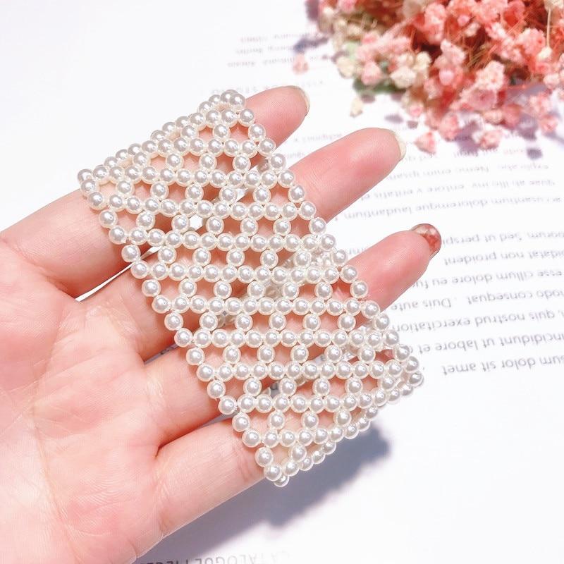 New Fashion Wide Bracelet White Simulated Pearl Handmade Weave Elastic Bracelets For Women Jewelry Korean Style