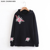 XUANCHURANWEN Women Hooded Sweatshirts Autumn Winter Black Flower Embroidery Hoodie Long Sleeve Pullover Female XZ1416